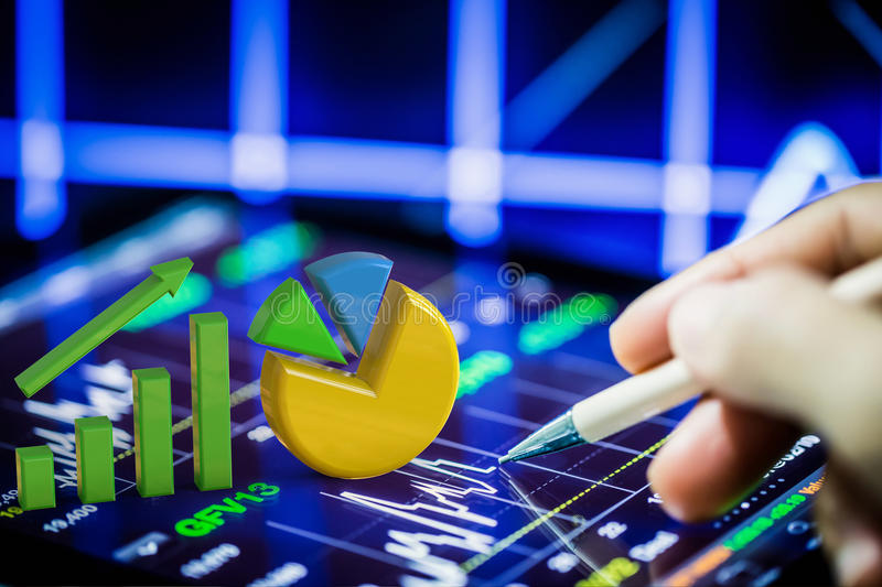 Stock analysis with growth graph and pie chart. On digital tablet stock images