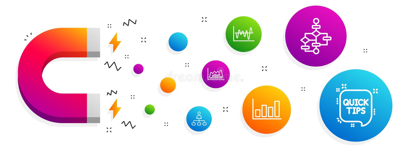 Stock analysis, Management and Block diagram icons set. Report diagram, Infographic graph and Quick tips signs. Vector. Magnet attracting. Stock analysis vector illustration