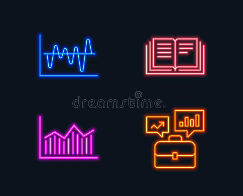 Stock analysis, Money diagram and Education icons. Business portfolio sign. Neon lights. Set of Stock analysis, Money diagram and Education icons. Business vector illustration