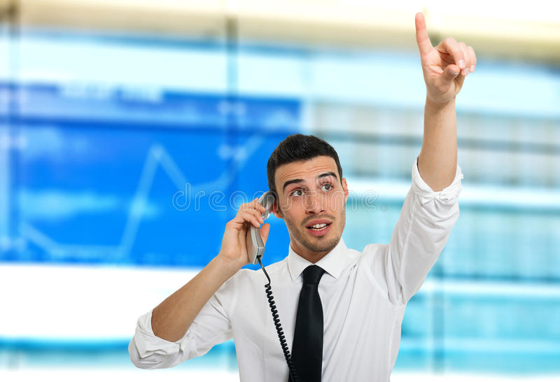 Stock broker at work stock photos