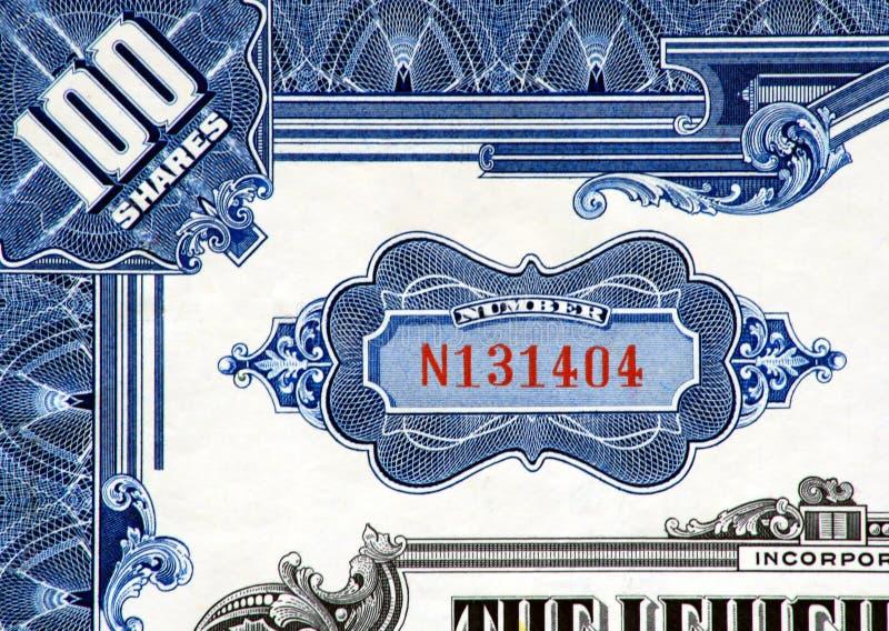Stock Certificate Close-up. Corner macro of a vintage stock certificate stock photography
