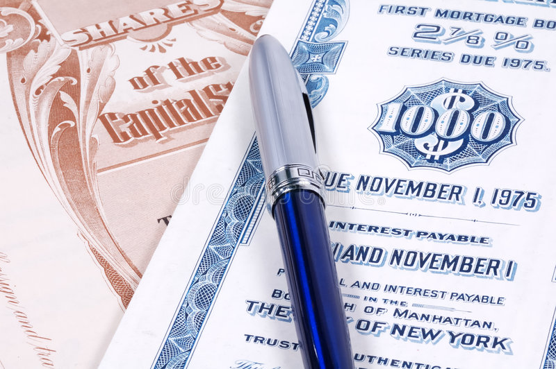Stock Certificates stock images