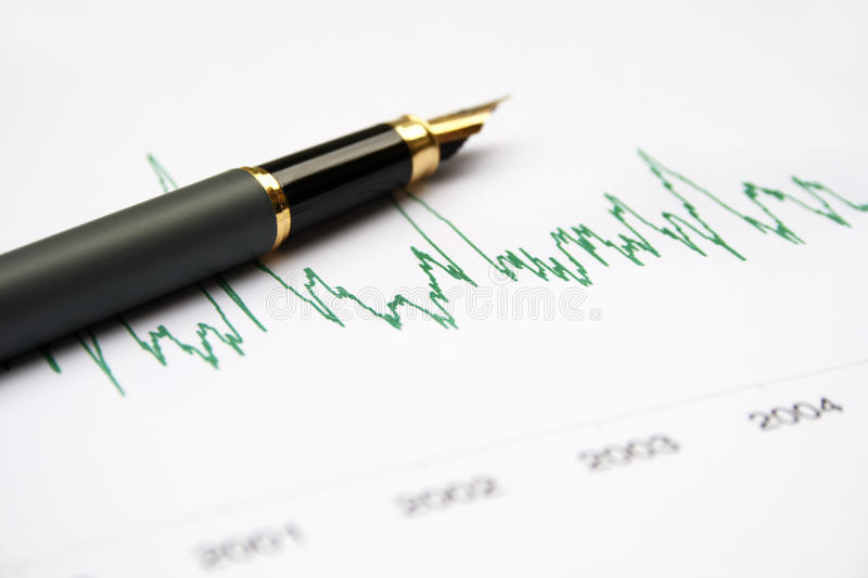 Stock chart. Fountain pen and calculator royalty free stock photos