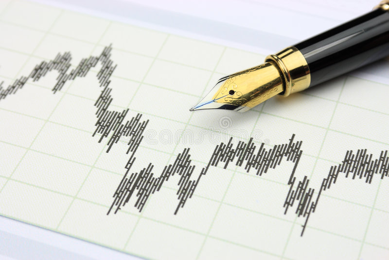 Stock chart. And fountin pen stock photos