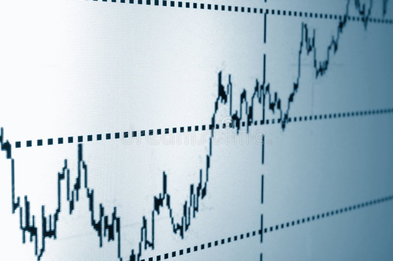 Stock chart. Financial graph or stock chart on screen of a display stock photography