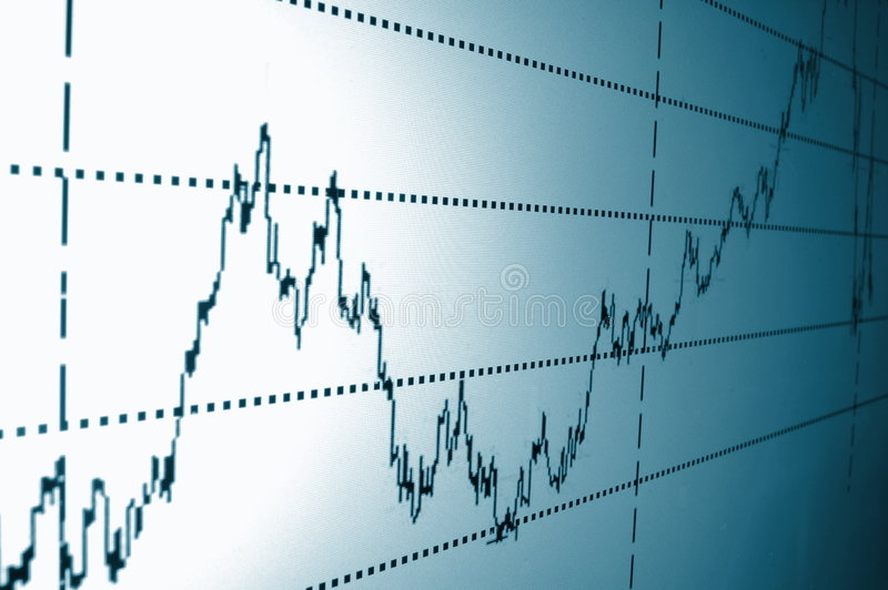Stock chart. Financial graph or stock chart on screen of a display royalty free stock photo
