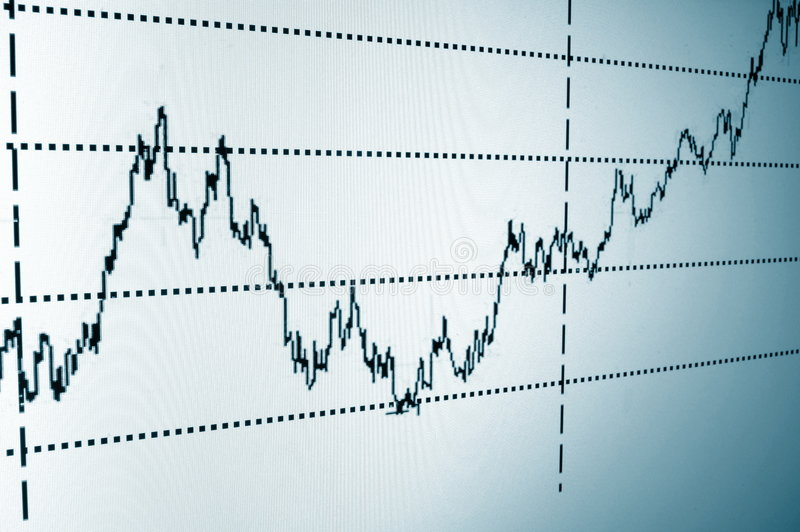 Stock chart. Financial graph or stock chart on screen of a display royalty free stock photography