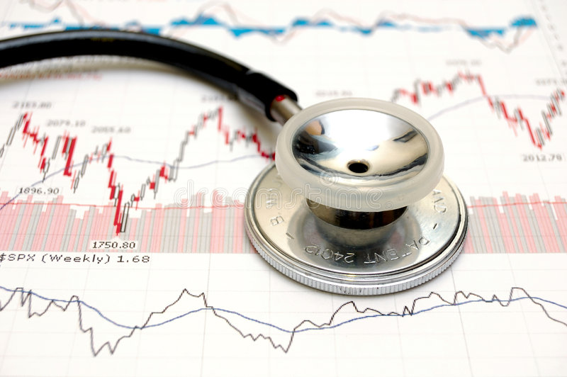 Stock chart analysis. Stethoscope and stock chart - market analysis. Analyzing risk in investment stock photography