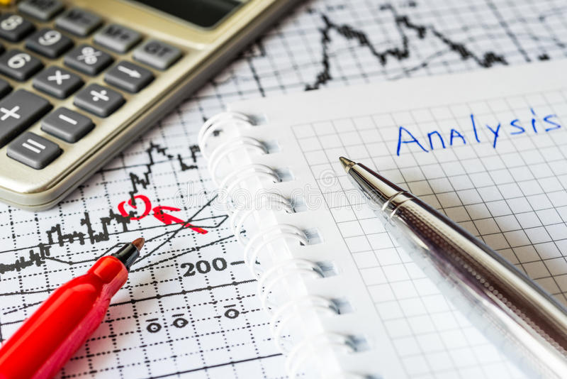 Stock Chart Analysis. Calculation of income, mark the red in the graphic, calculator with red marker on the table stock photography