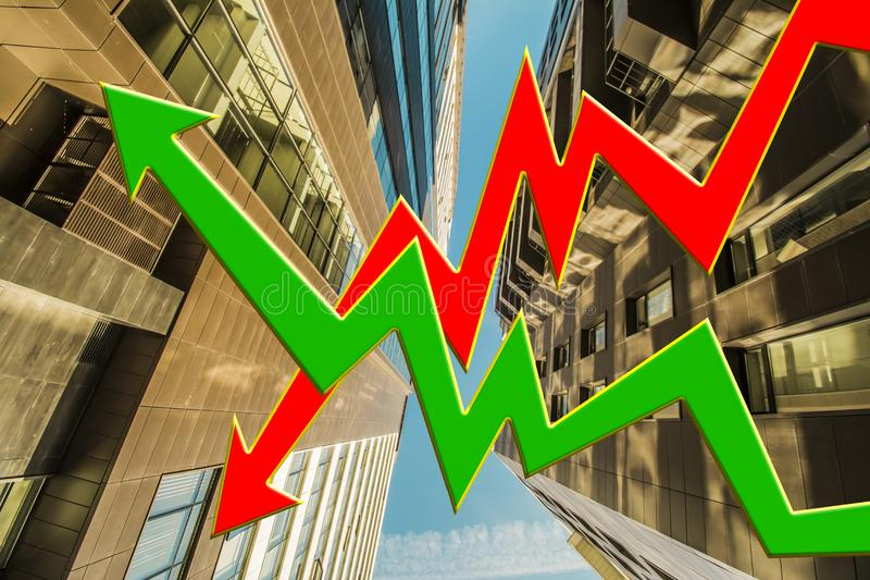 Stock chart on the background of real estate . The concept of price changes on the real estate market stock photo