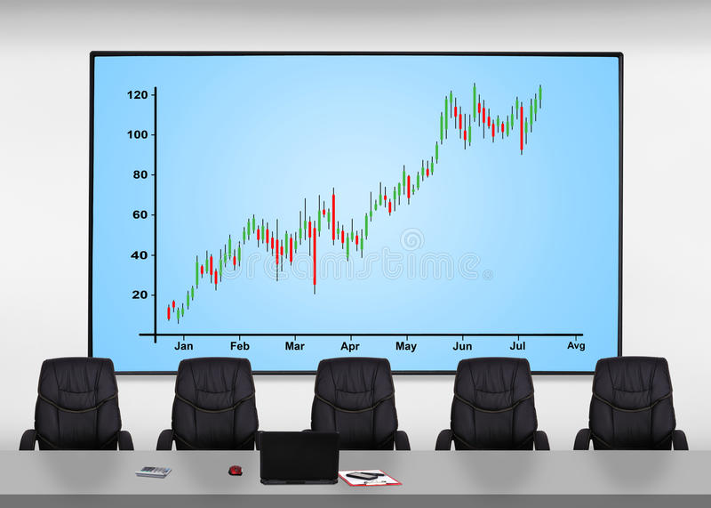 Stock chart. Big plasma screen with stock chart in office stock images