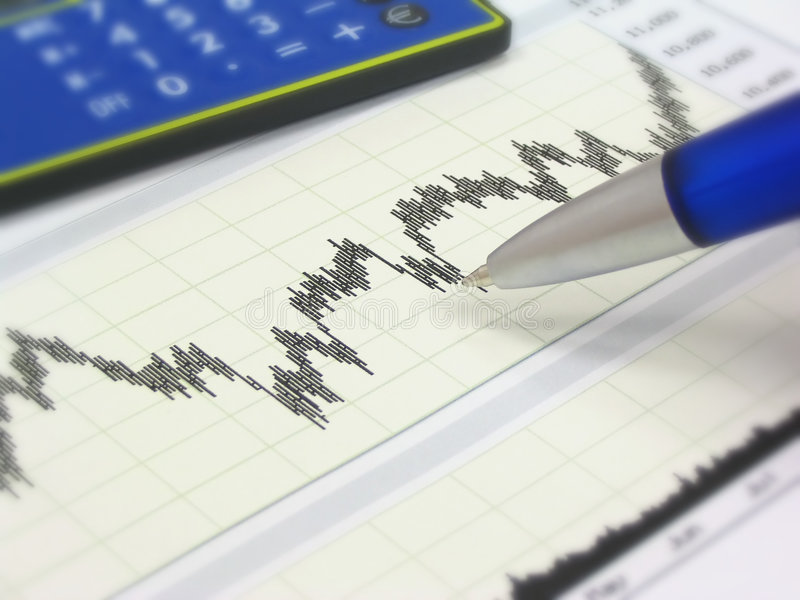 Stock chart, calculator and pen royalty free stock photo