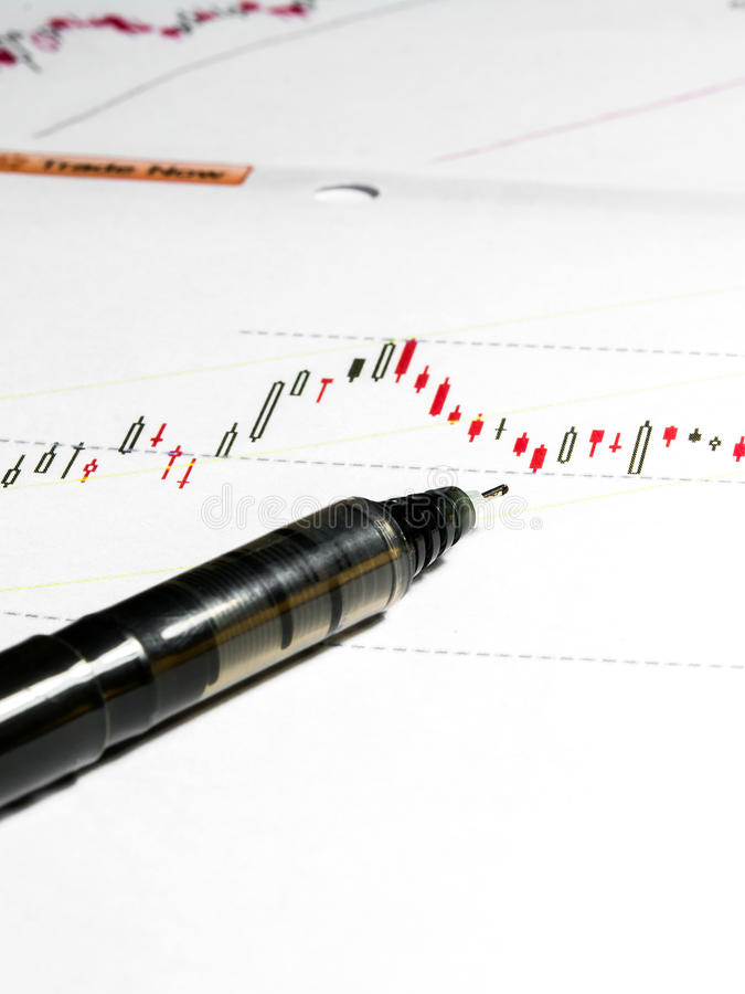 Stock chart data. With black pen royalty free stock photo