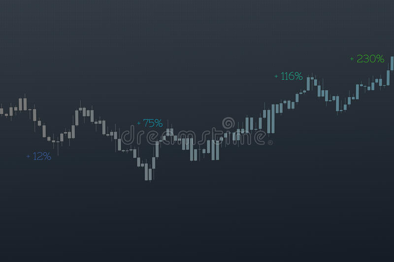 Stock chart with different percentages on grid background. 3D illustration. Stock chart with different colors percentages on dark background. 3D illustration on stock photography