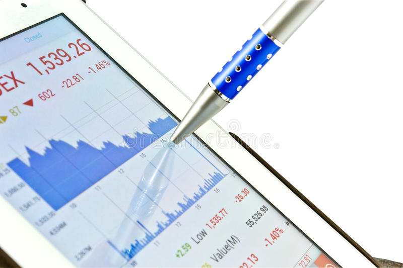 Stock chart. On digital tablet for planning stock images