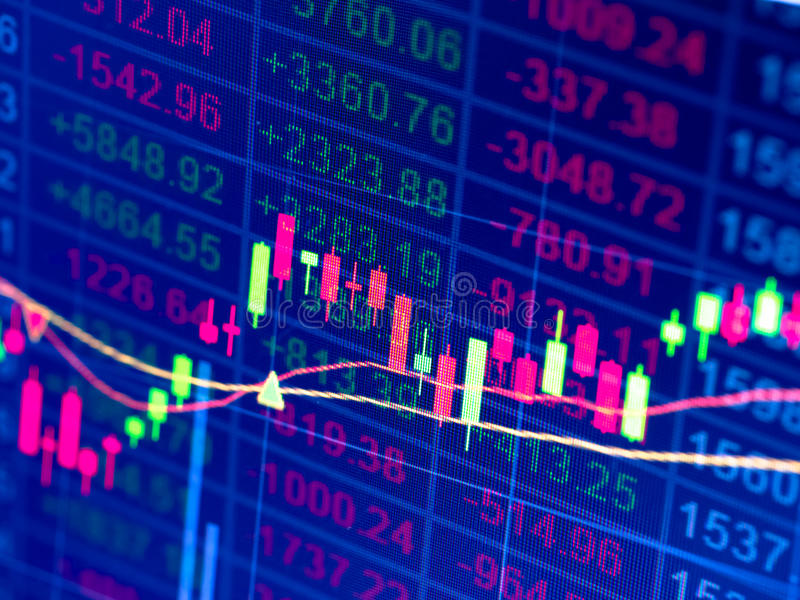 Stock chart. In double exposure background royalty free stock images