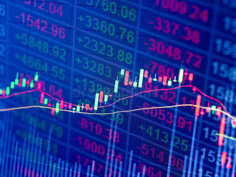 Stock chart. In double exposure background stock photos