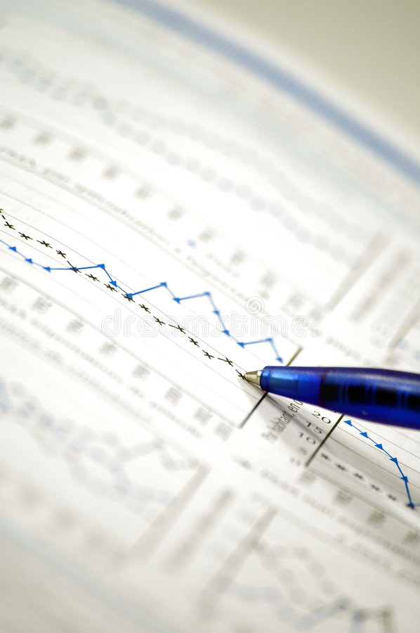 Stock chart and financial report stock images