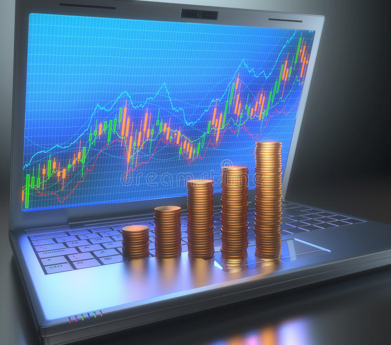 Stock Chart Gold Coins. Stock Chart on the laptop screen and gold coins on the keyboard forming a growing chart stock photography