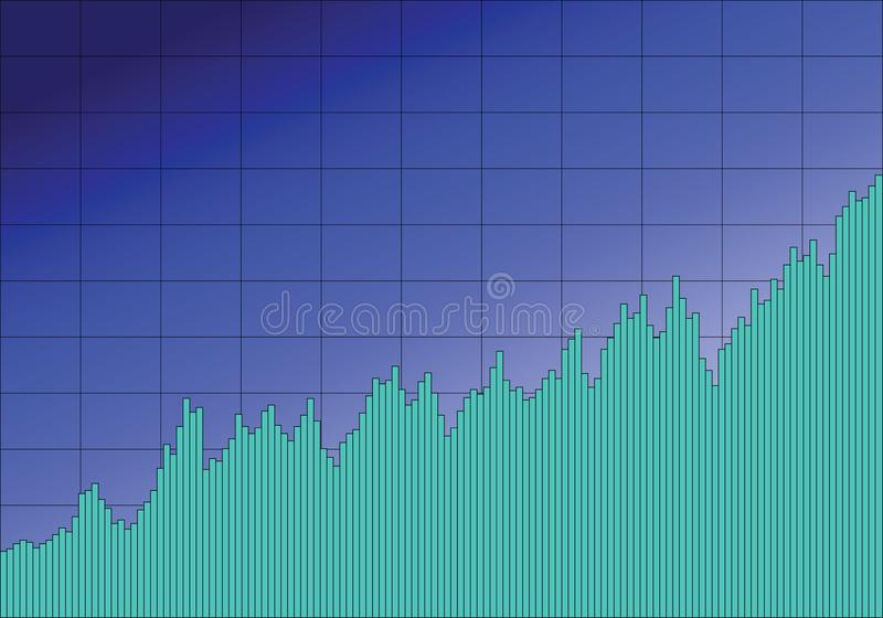 Stock Chart In Blue. A stock chart with a grid in blue, with the bars in turquoise stock illustration