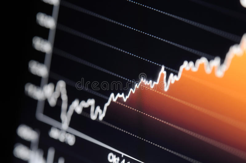 Stock chart growth. Close-up of a stock market graph on a high resolution LCD screen royalty free stock photos