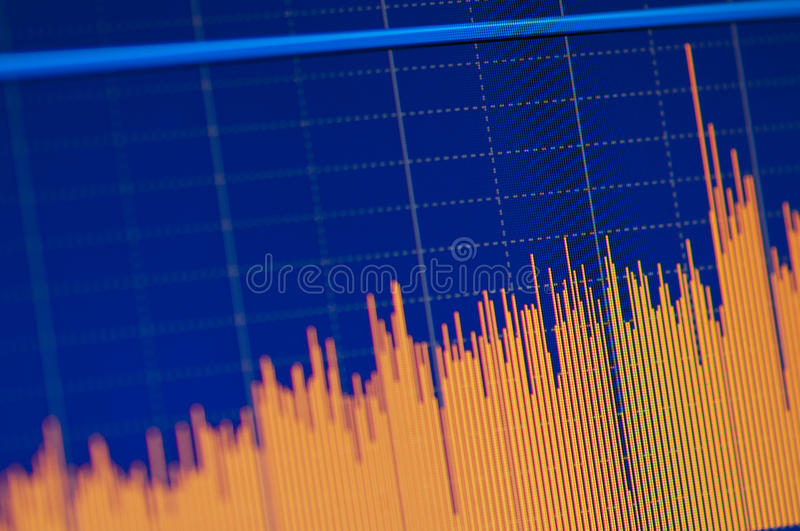 Stock chart growth. Close-up of a stock market graph on a high resolution LCD screen royalty free stock image