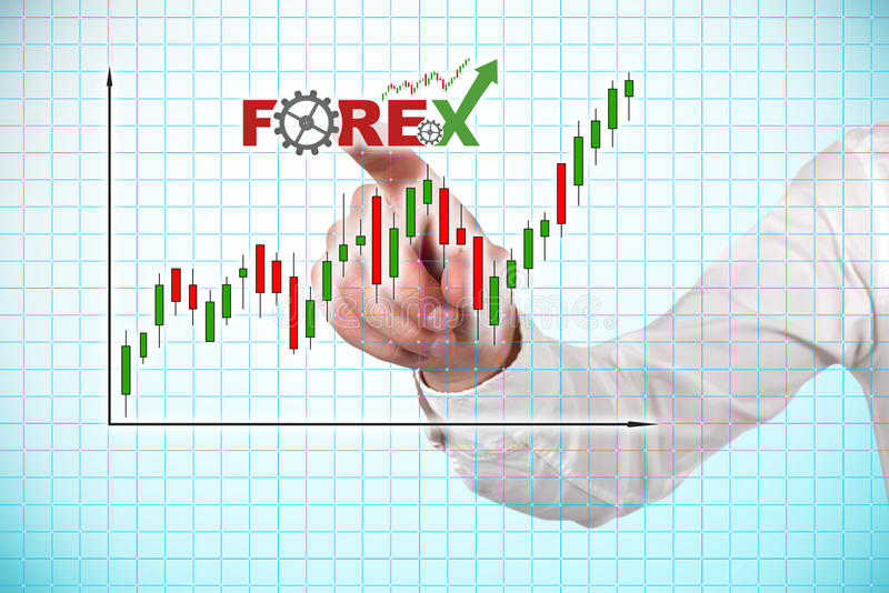 Stock chart. Hand pointing stock chart on screen, close up royalty free stock image