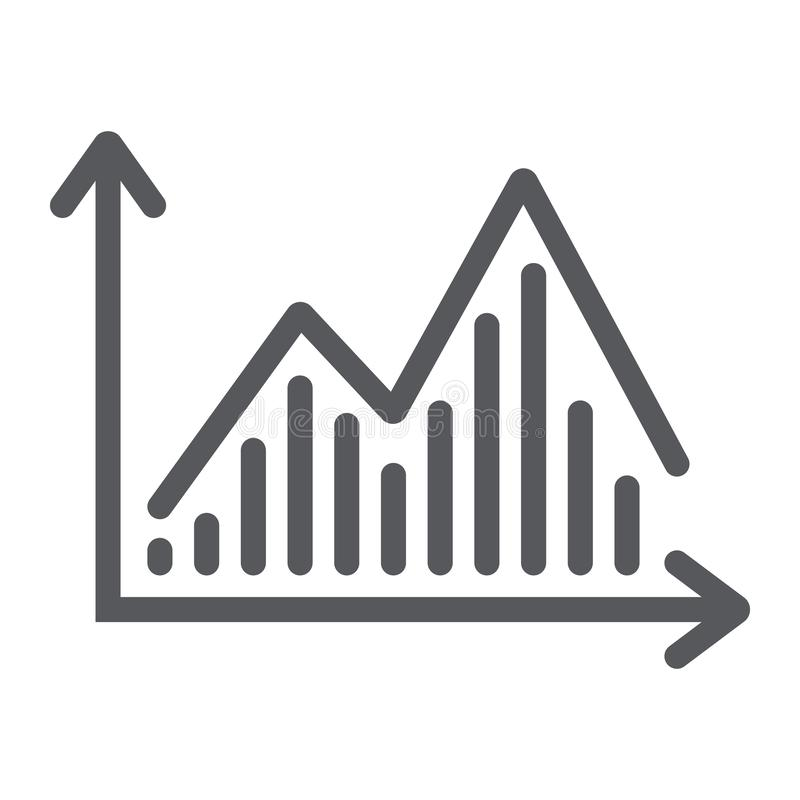 Stock chart line icon, graph and finance, statistic diagram sign, vector graphics, a linear pattern on a white. Background, eps 10 vector illustration