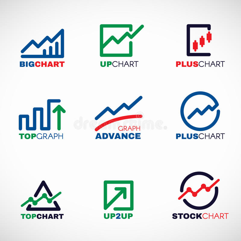 Stock chart or Market Business Graph line logo vector set design royalty free illustration