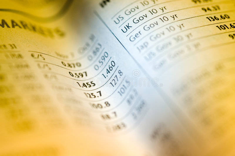Stock chart in newspaper. Horizontal image of stock chart in newspaper royalty free stock images