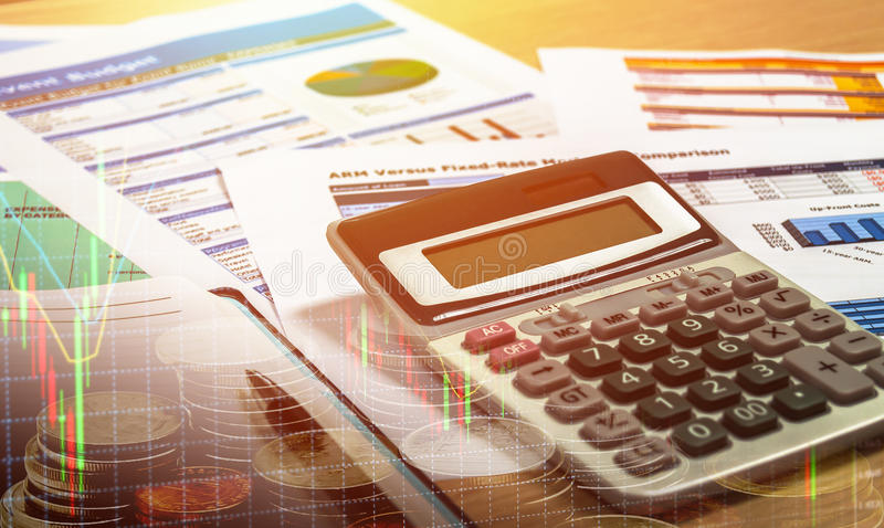 Stock chart on office table investment concept. Stock chart in monitor, investment concept royalty free stock photography