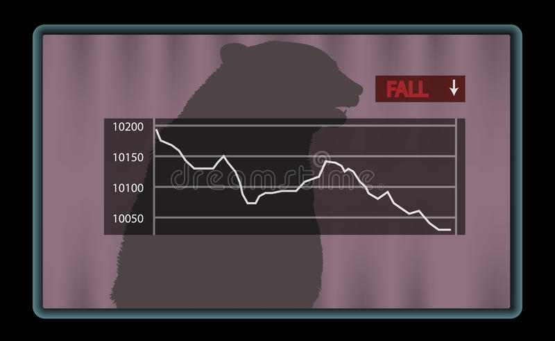 Stock chart with red fall indicator