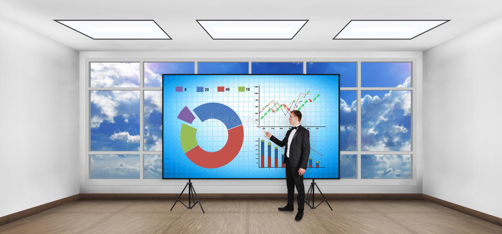 Stock chart on screen. Businessman with pointer showing stock chart on screen stock illustration
