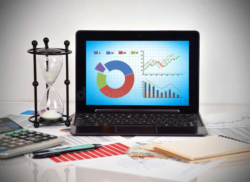 Stock chart on screen laptop. Financial and business charts and report on table royalty free stock photo