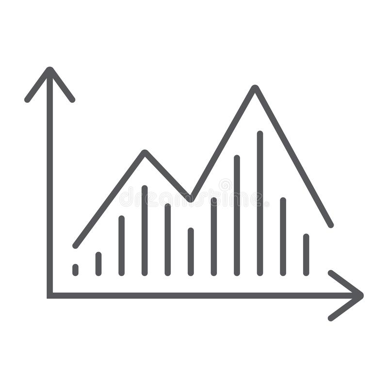 Stock chart thin line icon, graph and finance, statistic diagram sign, vector graphics, a linear pattern on a white. Background, eps 10 stock illustration