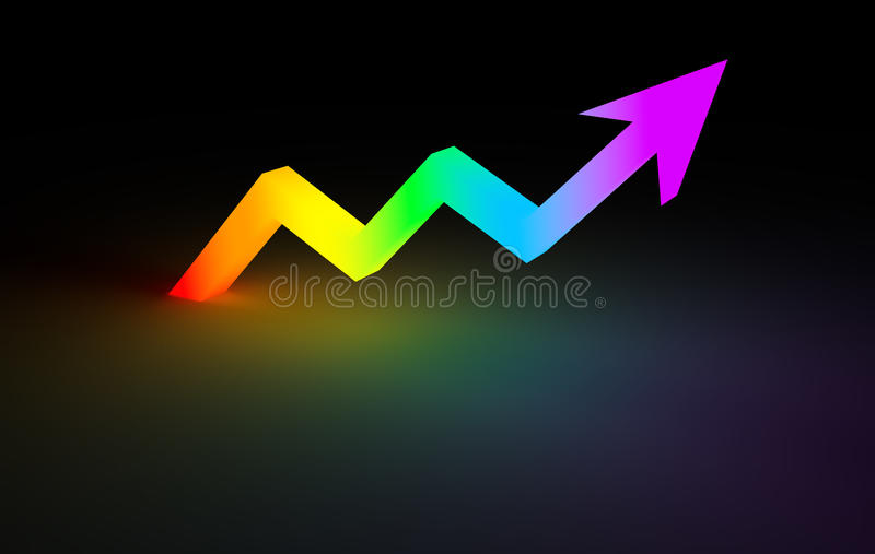 Stock chart Up arrow line glowing in dark vector illustration