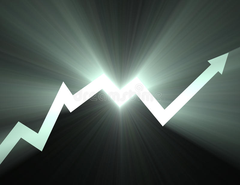 Stock chart Up arrow line light flare. Market soar up trend line with pointing arrow glowing light flares. Stock diagram background