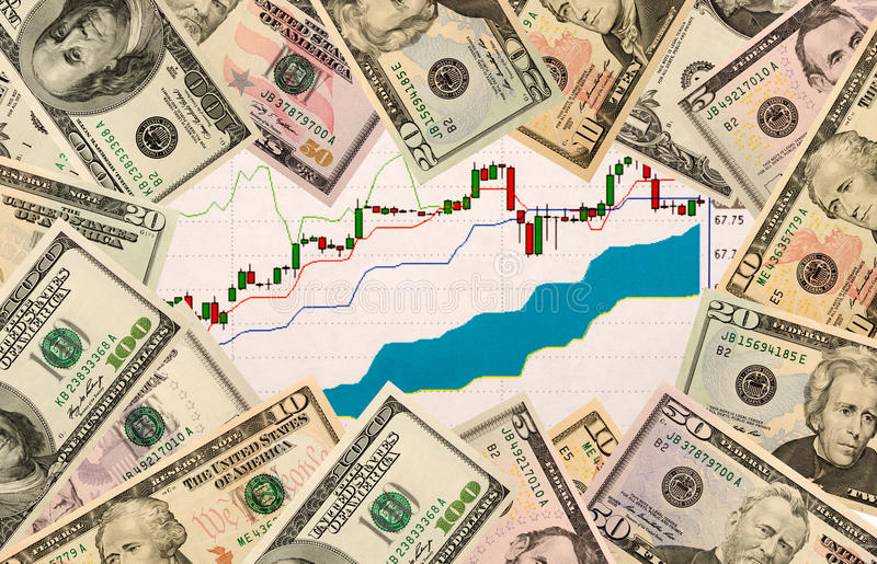 Stock chart and US money as background. view from above.  stock photography