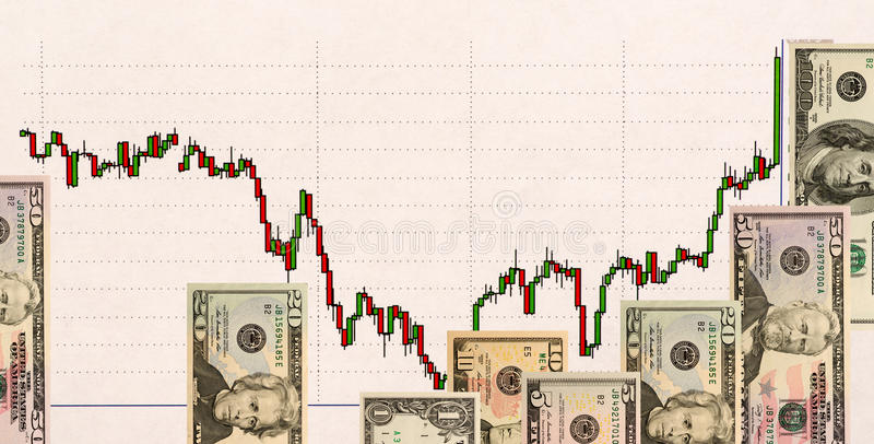 Stock chart and US money as background. view from above.  stock images