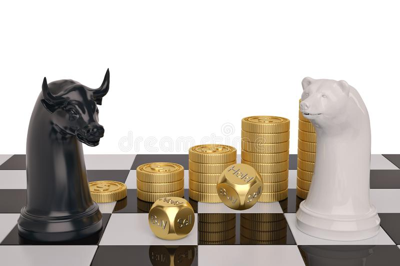 Stock concept bear and bull chess piece and gold coin stacks on. White background.3D illustration stock photo