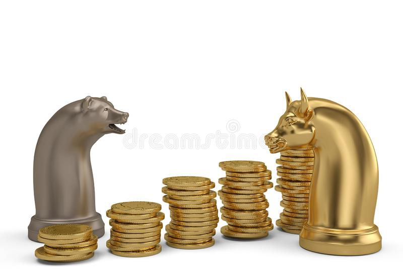 Stock concept bear and bull chess piece and gold coin stacks on. White background.3D illustration stock photos