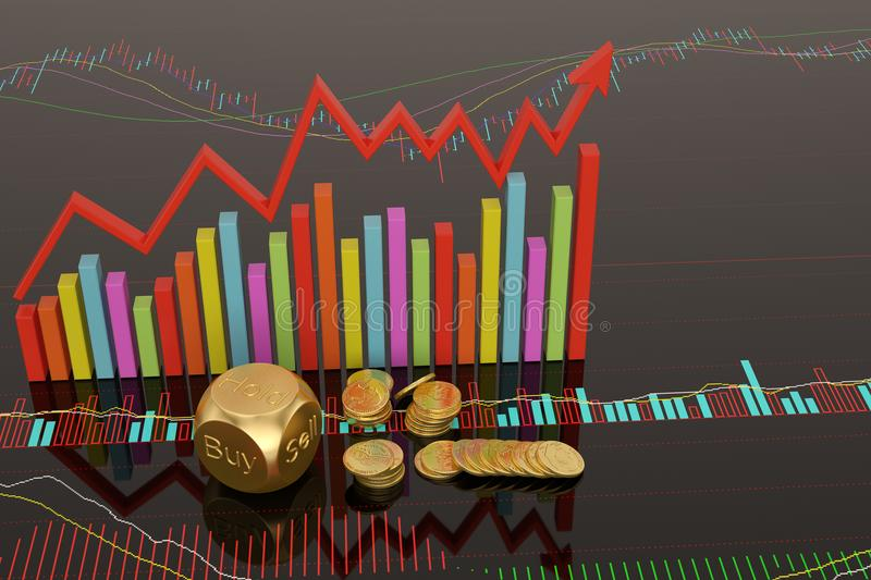 Stock concept dices and coins on stock chart.3D illustration. Stock concept dices and coins on stock chart. 3D illustration royalty free illustration