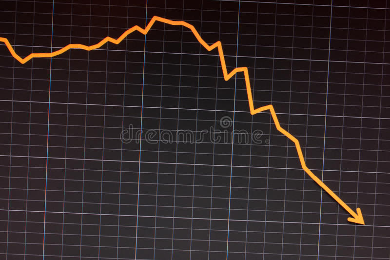 stock crash recession- computer screen royalty free stock photography