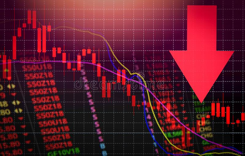 Stock crisis red market price arrow down chart fall / Stock exchange market analysis or forex charts graph. Business and finance money forex crisis losing royalty free illustration