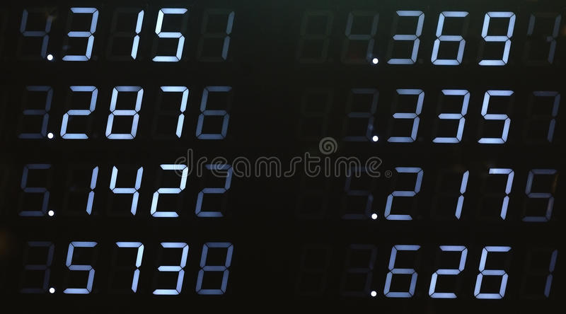 Stock data. Electronic stock data board with random values stock photography