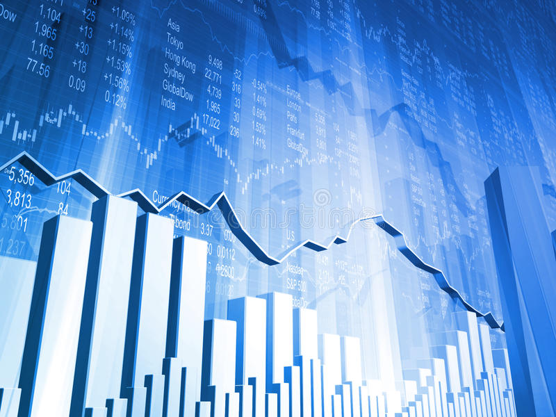 Stock Data with 3D Market Graph royalty free stock photo