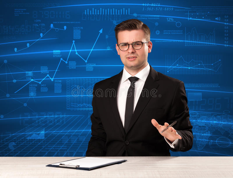 Stock data analyst in studio giving adivce on blue chart background. Concept on background stock photography