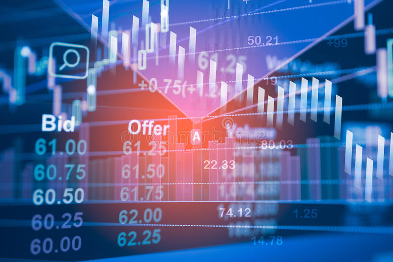 Stock data indicator analysis on financial market trade stock photos