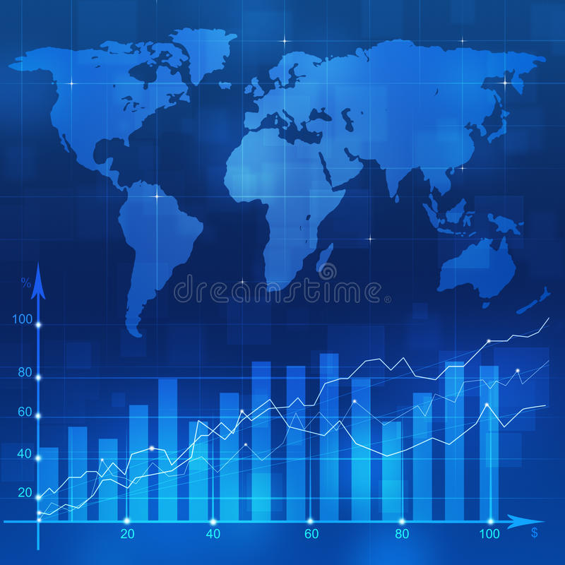 Stock Diagram Blue Backgorund. Abstract financial stock market diagram on blue background stock illustration