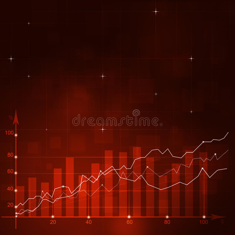 Stock Diagram Red Backgorund. Abstract financial stock market diagram on red background royalty free illustration
